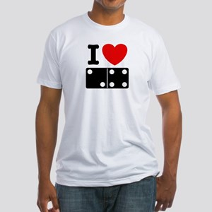 I Love Dominoes Fitted T-Shirt