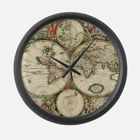 Vintage Map Large Wall Clock