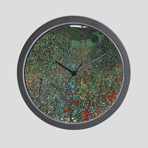 Gustav Klimt Poppy Field Wall Clock