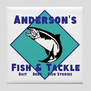 Personalized fishing Tile Coaster