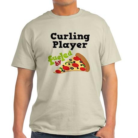 Curling Player Pizza Light T-Shirt