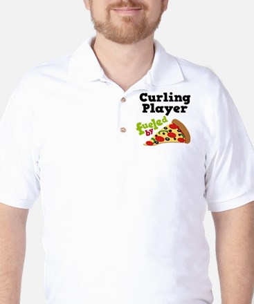 Curling Player Pizza Golf Shirt