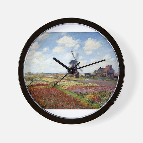 Monet Fields Of Tulip Wall Clock