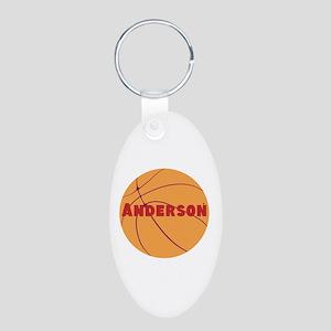 Personalized Basketball. Aluminum Oval Keychain