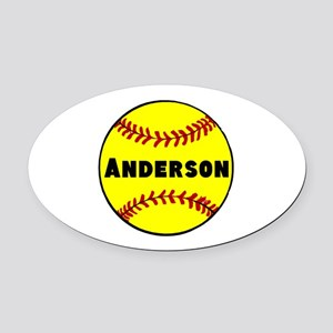 Personalized Softball Oval Car Magnet
