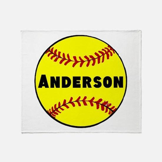 Personalized Softball Throw Blanket