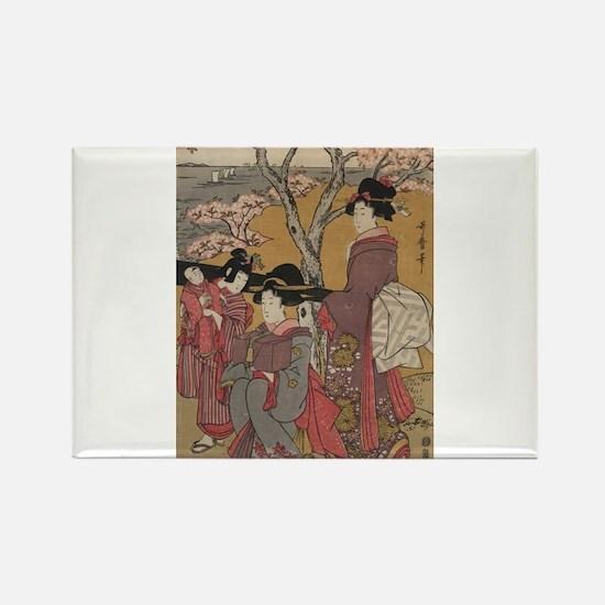 Cherry-viewing at Gotenyama 3 - Utamaro Kitagawa -