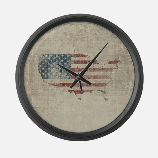 Vintage USA Flag / Map Large Wall Clock