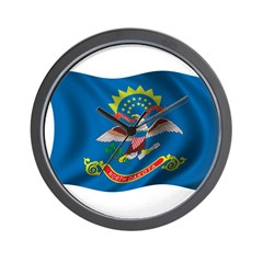 Wavy North Dakota Wall Clock