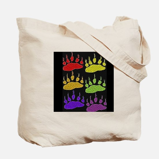 3 SETS RAINBOW BEAR PAWS ON BLK Tote Bag