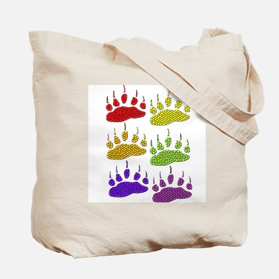 3 SETS OF RAINBOW BEAR PAWS Tote Bag