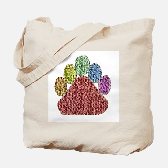 RAINBOW PASTEL DIMPLED BEAR PAW Tote Bag
