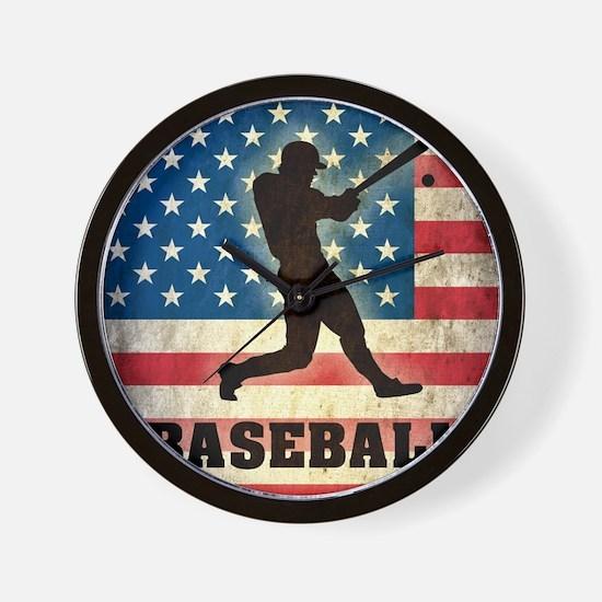 Grunge USA Baseball Wall Clock