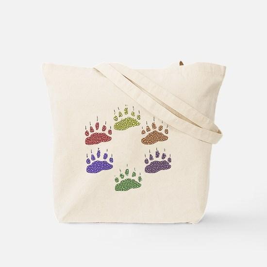 6 RAINBOW BEAR PAWS Tote Bag