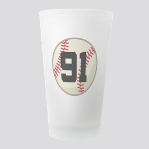 91 baseball Frosted Drinking Glass