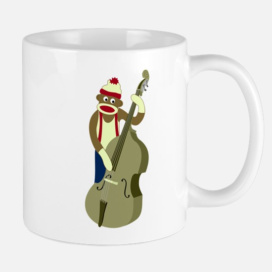 Sock Monkey Upright Bass Player Coffee Mug