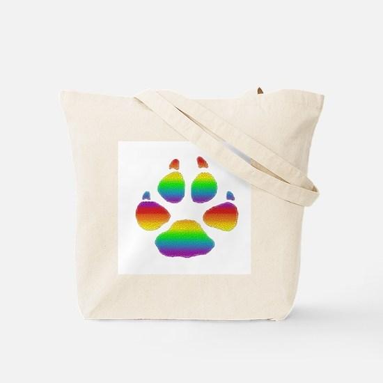 RAINBOW STRIPED BEAR PAW Tote Bag