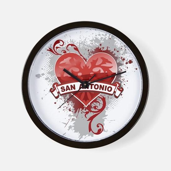 Heart San Antonio Wall Clock