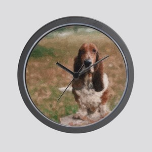 Hand Painted Basset Hound Wall Clock