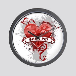 Heart Shar Pei Wall Clock
