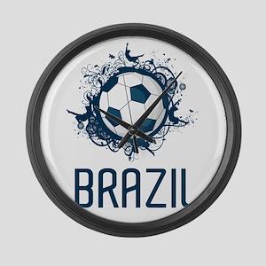 Hip Brazil Football Large Wall Clock