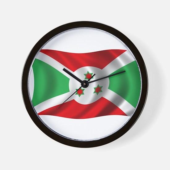 Wavy Burundi Flag Wall Clock