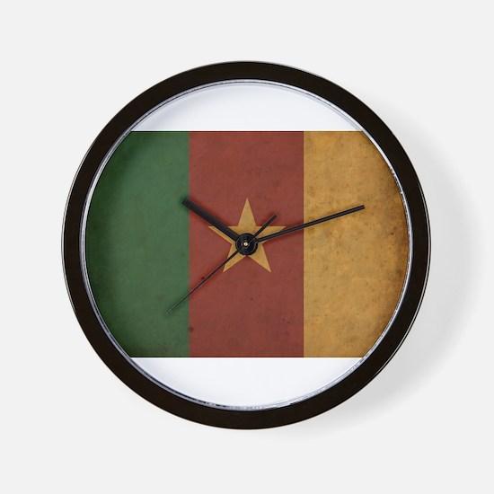 Vintage Cameroon Flag Wall Clock