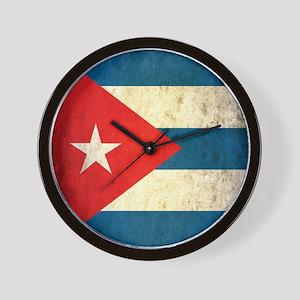 Grunge Cuba Flag Wall Clock