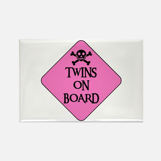 WARNING: TWINS ON BOARD Rectangle Magnet