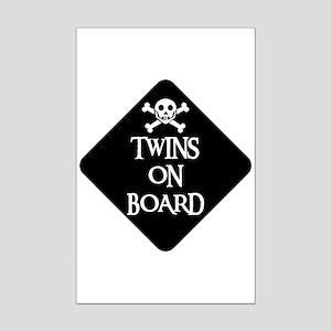 WARNING: TWINS ON BOARD Mini Poster Print