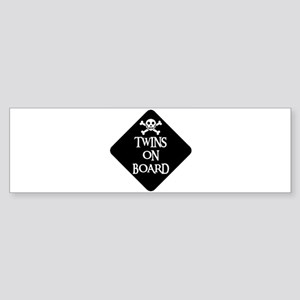 WARNING: TWINS ON BOARD Bumper Sticker