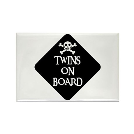 WARNING: TWINS ON BOARD Rectangle Magnet (10 pack)