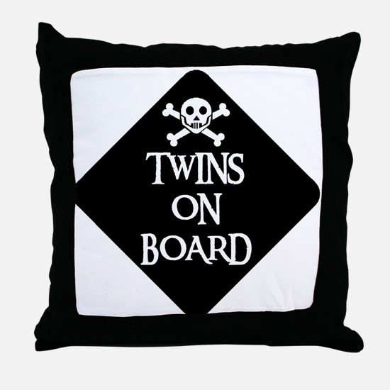 WARNING: TWINS ON BOARD Throw Pillow