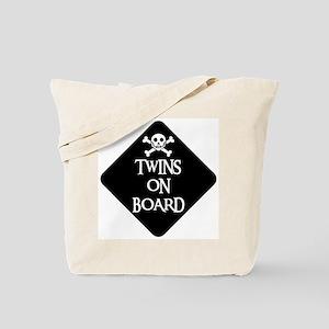 WARNING: TWINS ON BOARD Tote Bag
