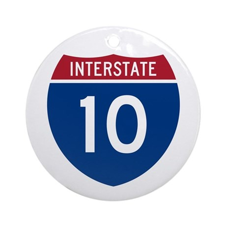 I-10 Highway Ornament (Round)