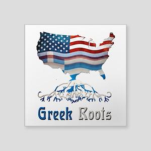 """American Greek Roots Square Sticker 3"""" x 3&qu"""