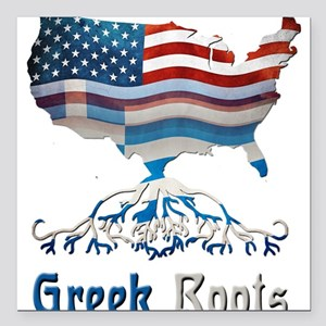 "American Greek Roots Square Car Magnet 3"" x 3"""