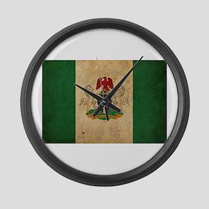 Vintage Nigeria Flag Large Wall Clock