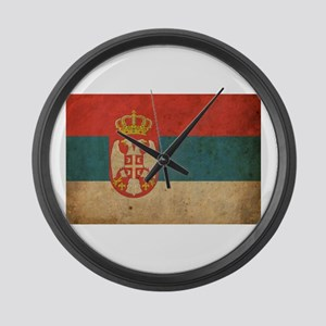 Vintage Serbia Flag Large Wall Clock