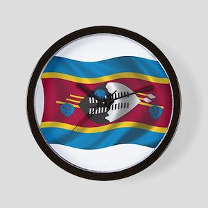 Wavy Swaziland Flag Wall Clock