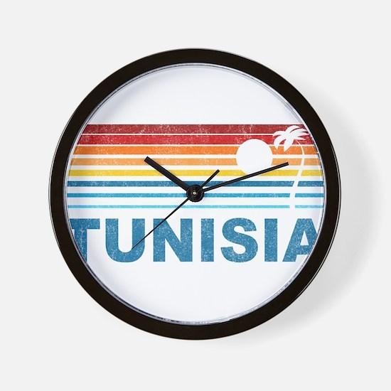 Retro Palm Tree Tunisia Wall Clock