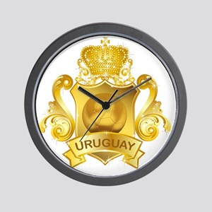 Gold Football Uruguay Wall Clock
