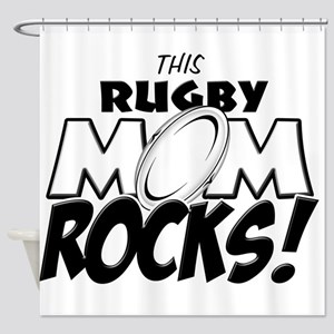 This Rugby Mom Rocks copy Shower Curtain