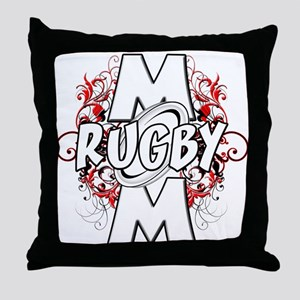 Rugby Mom (cross) Throw Pillow