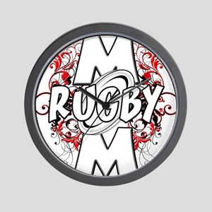 Rugby Mom (cross).png Wall Clock