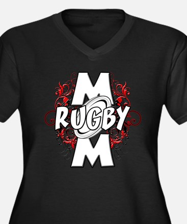 Rugby Mom (cross).png Women's Plus Size V-Neck Dar