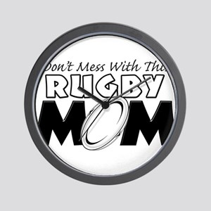 Dont Mess With This Rugby Mom copy.png Wall Clock