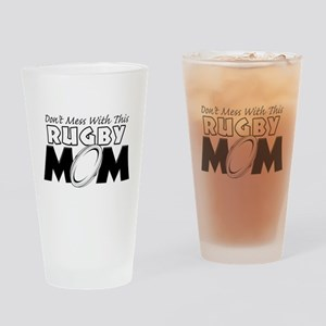 Dont Mess With This Rugby Mom copy Drinking Gl