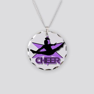 Cheerleader in purple Necklace Circle Charm