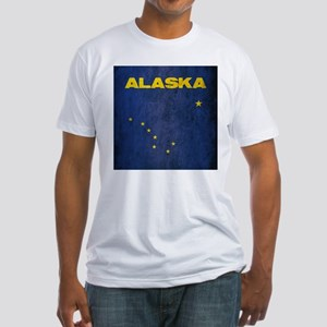 Grunge Alaska Flag Fitted T-Shirt